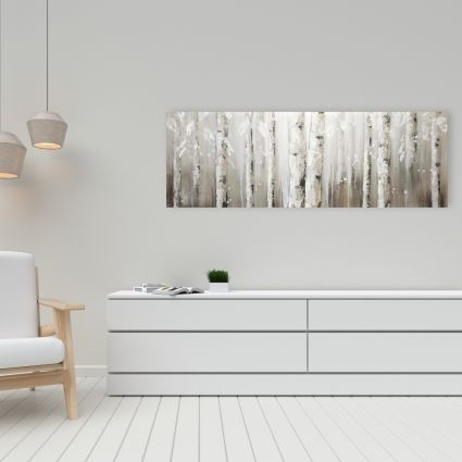 White birches on gray background