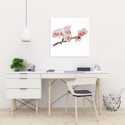 Branch of cherry blossom in pink