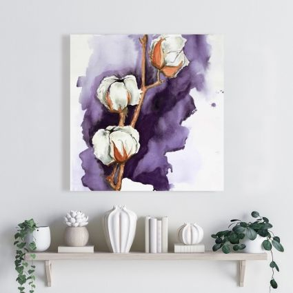 Cotton flowers on a purple background