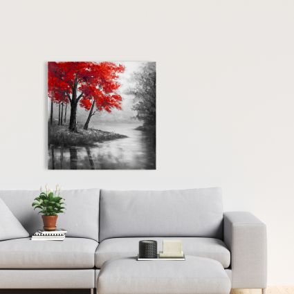 Red trees and lake