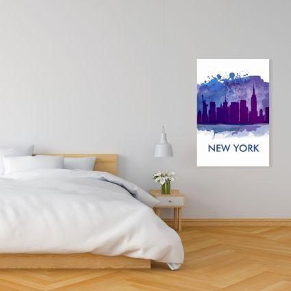 Blue silhouette of new york city