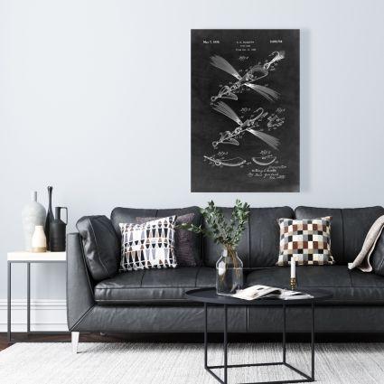 Black blueprint of a fish lure
