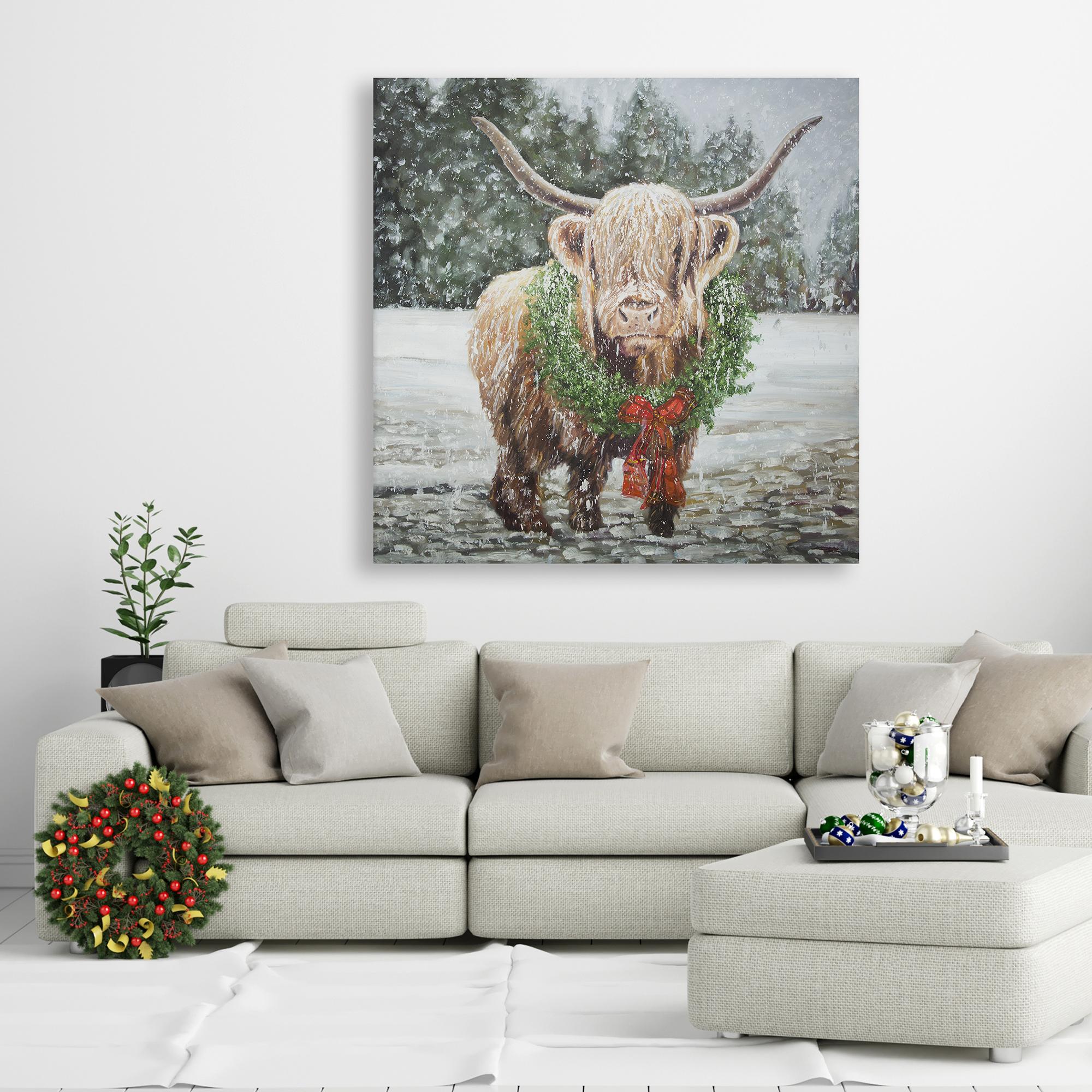 Canvas 36 x 36 - Highland christmas cow