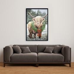 Framed 24 x 36 - Highland christmas cow