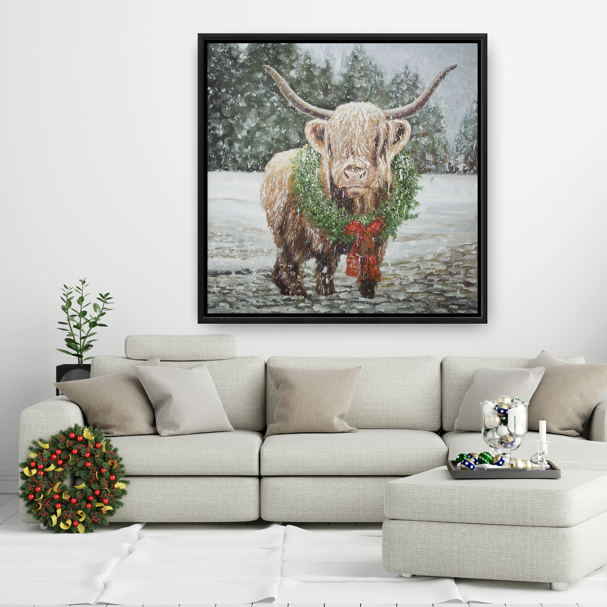 Framed 36 x 36 - Highland christmas cow