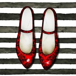 Red glossy shoes on striped background