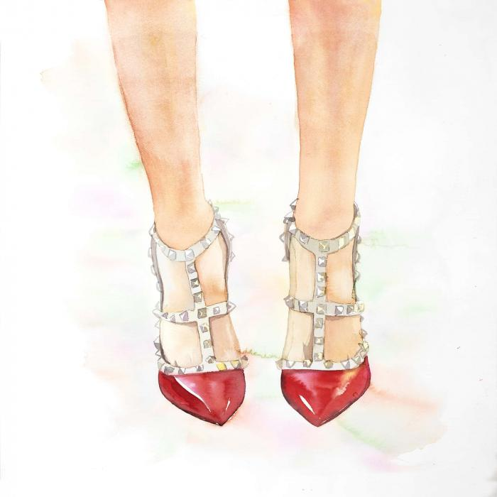 Red studded high heels