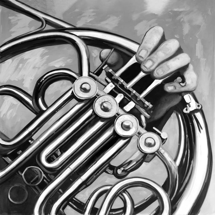 Musician with french horn monochrome
