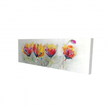 Four colored flowers on gray background