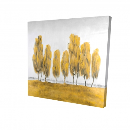 Seven abstract yellow trees