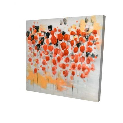 Abstract red dotted flowers field