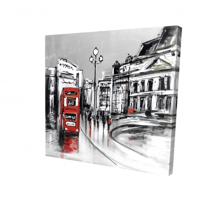 Abstract gray city with red bus