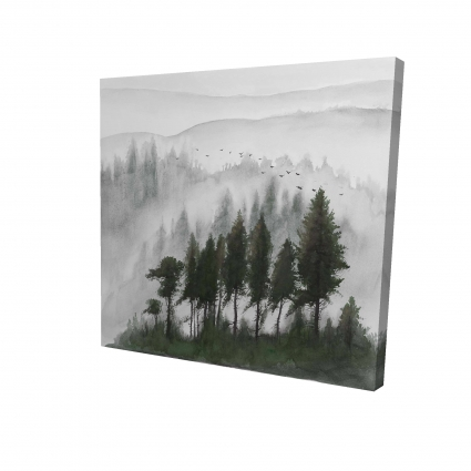 Mountains landscape in dark watercolor