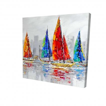 Colorful boats near a gray city