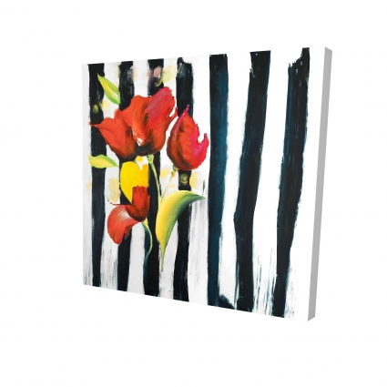 Red flowers on stripes