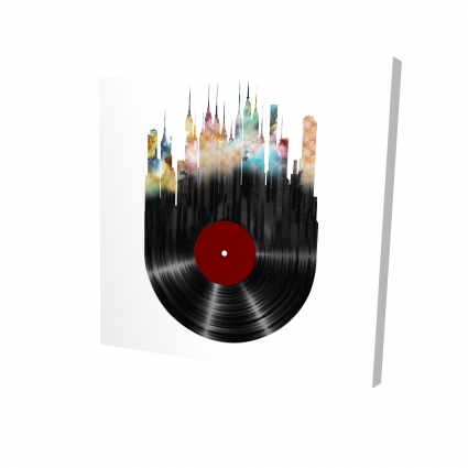 Abstract city on a vinyl disk
