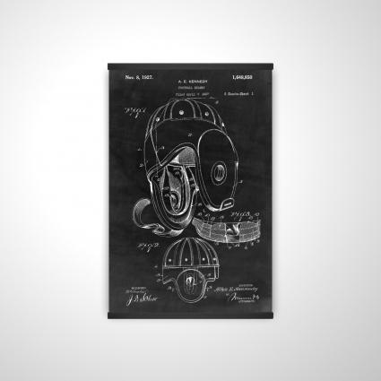 Black blueprint of a football helmet