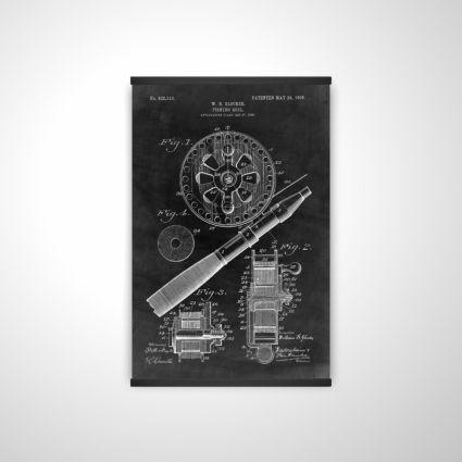 Black blueprint of a fishing reel