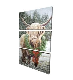 Canvas 24 x 36 - 3D - Highland christmas cow